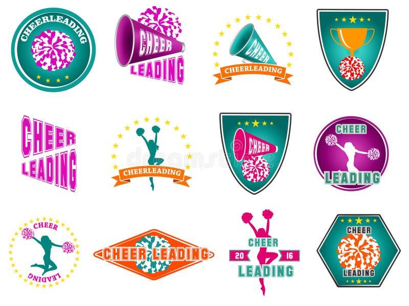 Reeks etiketten, emblemen voor het cheerleading vector illustratie