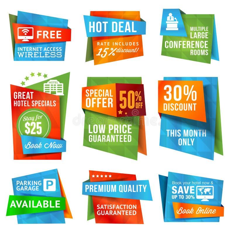 Reeks etiketten en banners vector illustratie