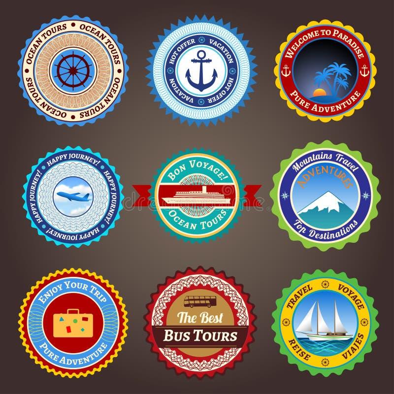 De etiketten, de kentekens en de stickers van de reis stock illustratie