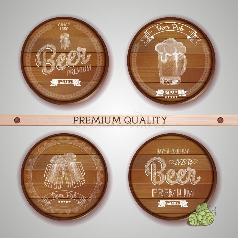 Reeks etiketten met bier stock illustratie
