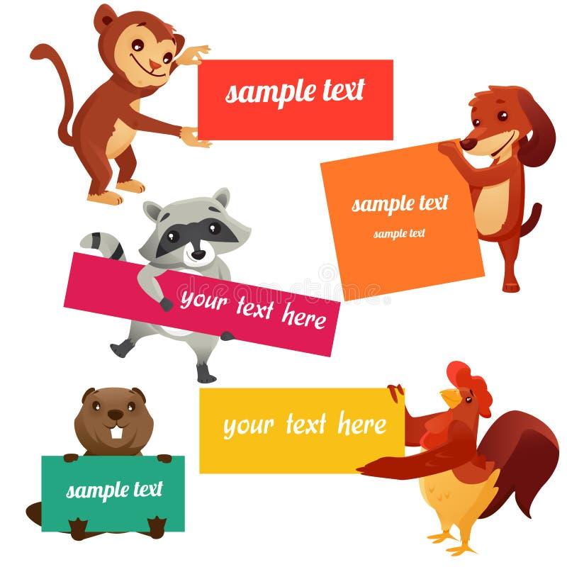 Reeks etiketten met dieren vector illustratie