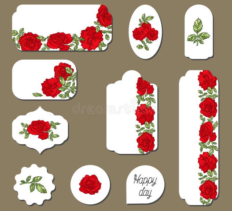 Reeks etiketten met rode rozenbloemen stock illustratie