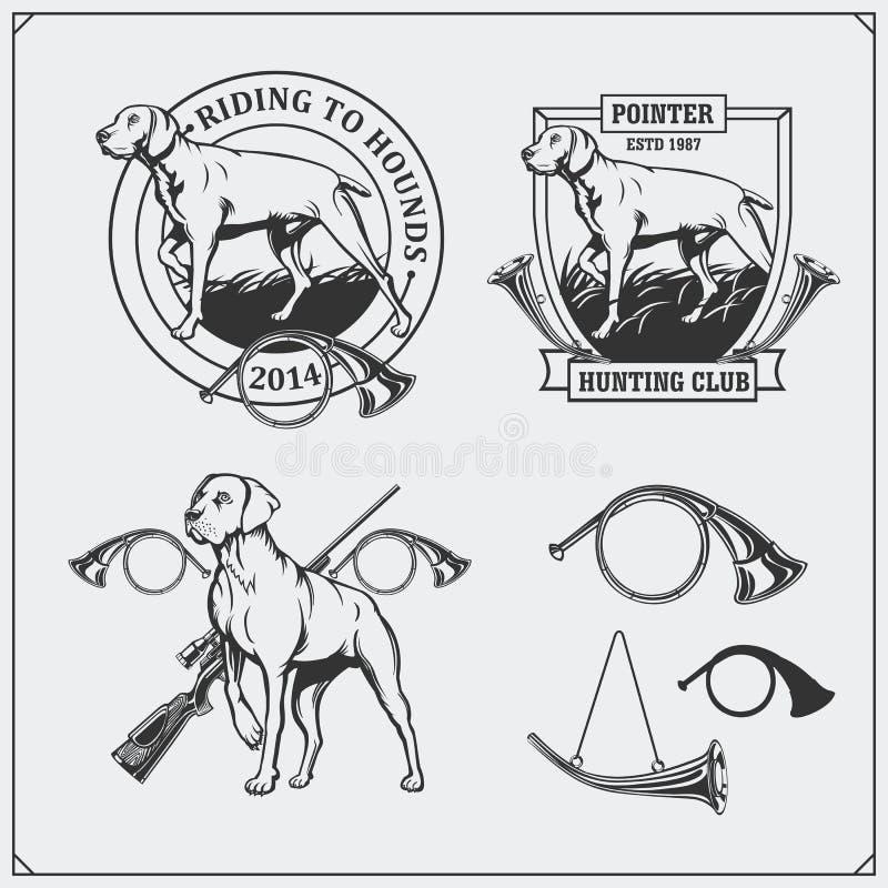 Reeks etiketten van de de Jachtclub De emblemen van de wijzerhond, etiketten en ontwerpelementen royalty-vrije illustratie