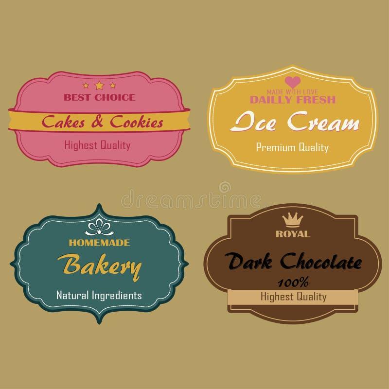 Reeks etiketten voor cakes, koekjes, roomijs vector illustratie