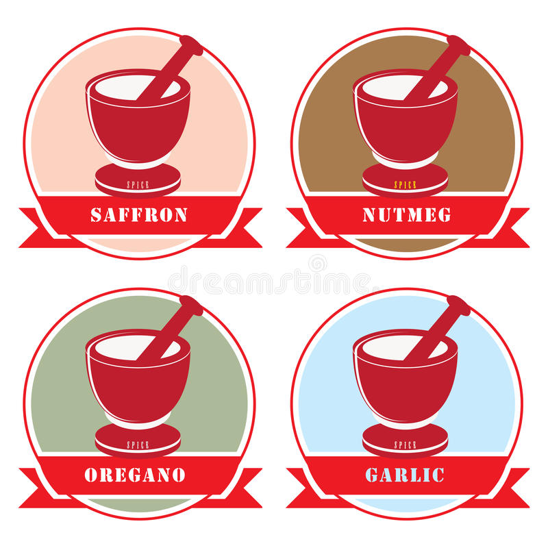 Reeks etiketten voor kruiden vector illustratie