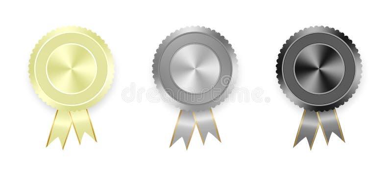 Reeks etiketten wit, grijs en zwart met gekleurde linten met gouden lint op witte achtergrond Inzameling van wereldmedailles voor stock illustratie