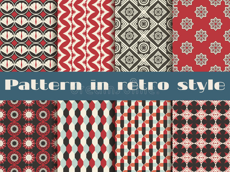 Reeks etnische naadloze patronen Het patroon voor behang, tegels, stoffen en ontwerpen stock illustratie