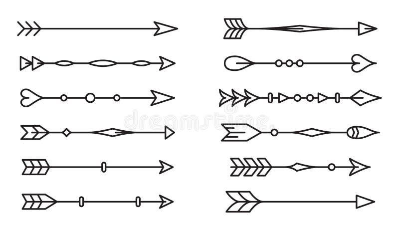 Reeks etnische pijlen op witte achtergrond stock illustratie