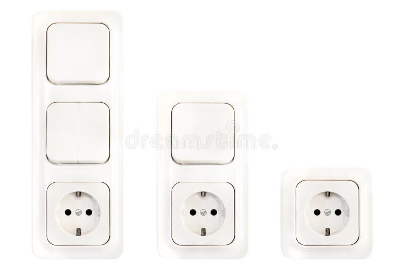 Reeks Europese Elektrische Contactdozen en Lichte Schakelaars stock fotografie
