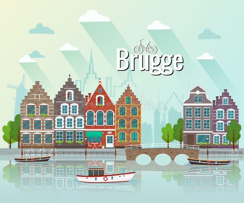 Reeks Europese kleurrijke oude huizen stock illustratie