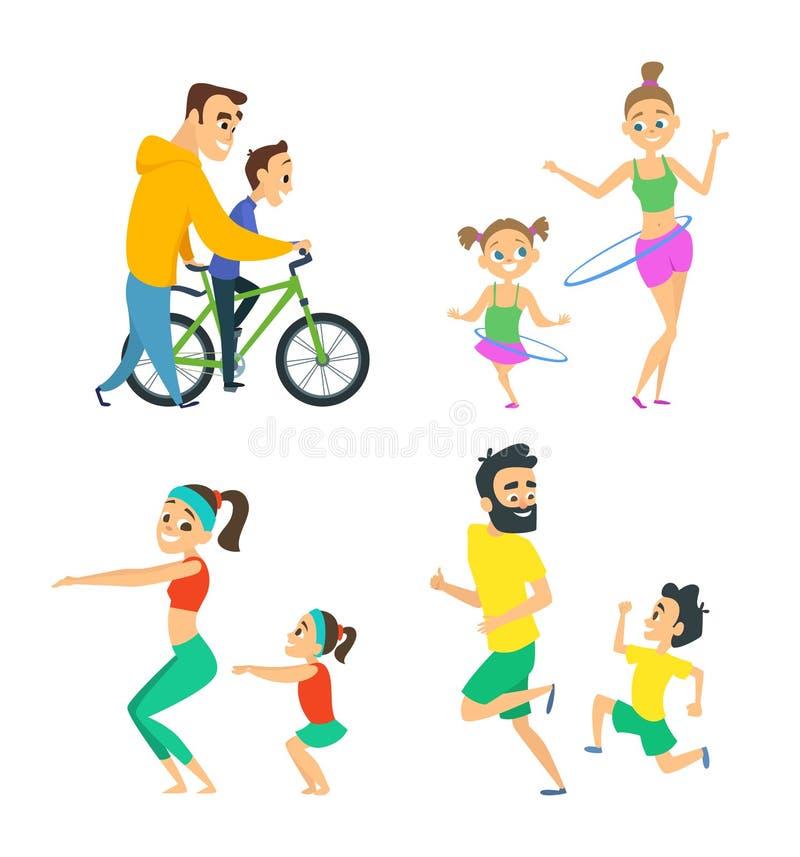Reeks familieparen in geschiktheidsactiviteiten Ouders die in actieve spelen met hun kinderen spelen stock illustratie