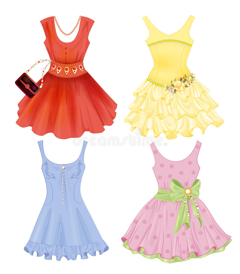 Reeks feestelijke kleding royalty-vrije illustratie