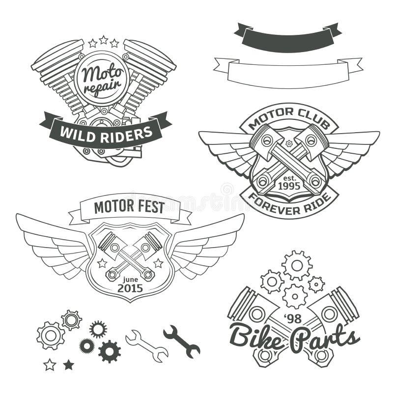 Reeks fietser uitstekende etiketten, het embleem van de oldschoolmotor royalty-vrije illustratie