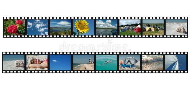 Reeks filmstrippen met de foto's van de reisvakantie stock afbeelding