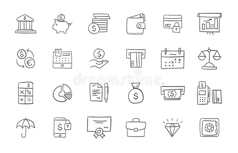 Reeks financiën en bankwezenpictogrammen royalty-vrije illustratie
