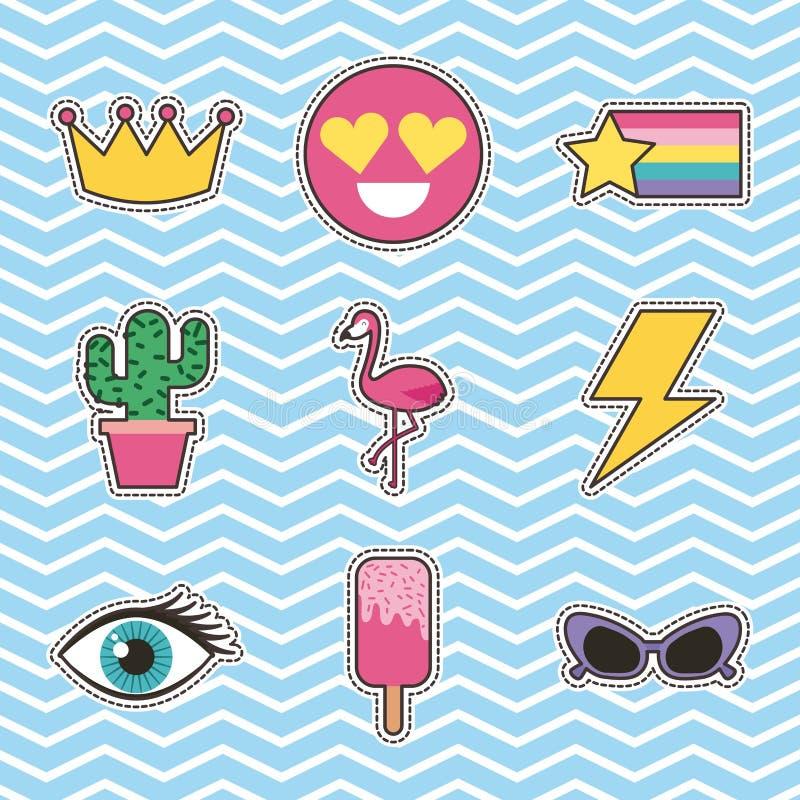 Reeks flarden of stickers leuke beeldverhaalpictogrammen royalty-vrije illustratie