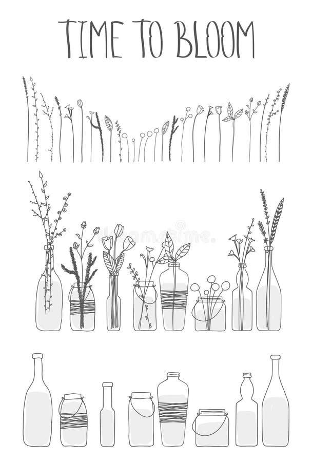 Reeks flessen en kruiken met water en bloemen royalty-vrije illustratie