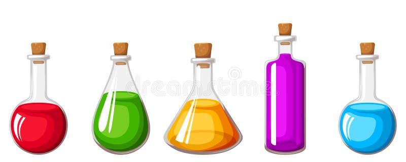 Reeks flessen met kleurrijke vloeistoffen Vector illustratie stock illustratie