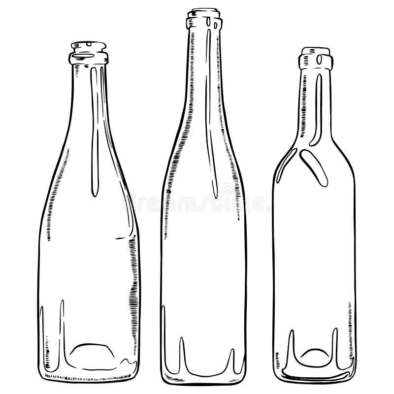 Reeks flessen van de schets lege wijn Vectorhand getrokken contour van flessen vector illustratie