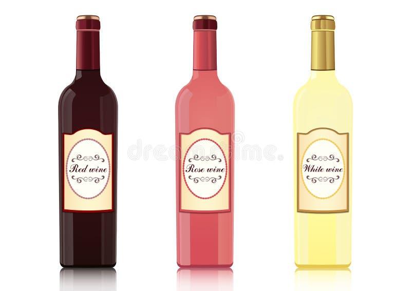 Reeks flessen van verschillende types van wijnen met etiketten, vector realistische tekening Fles rode wijn, fles roze wijn, fles royalty-vrije illustratie