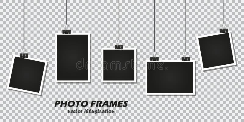 Reeks fotokaders met kantoorbehoeftenklem op een transparante achtergrond royalty-vrije illustratie