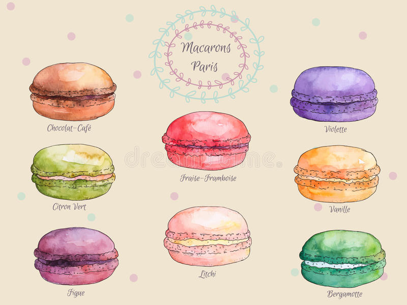Reeks Franse makarons van de waterverf verschillende smaak, inzameling van variatie kleurrijke Franse macarons vector illustratie