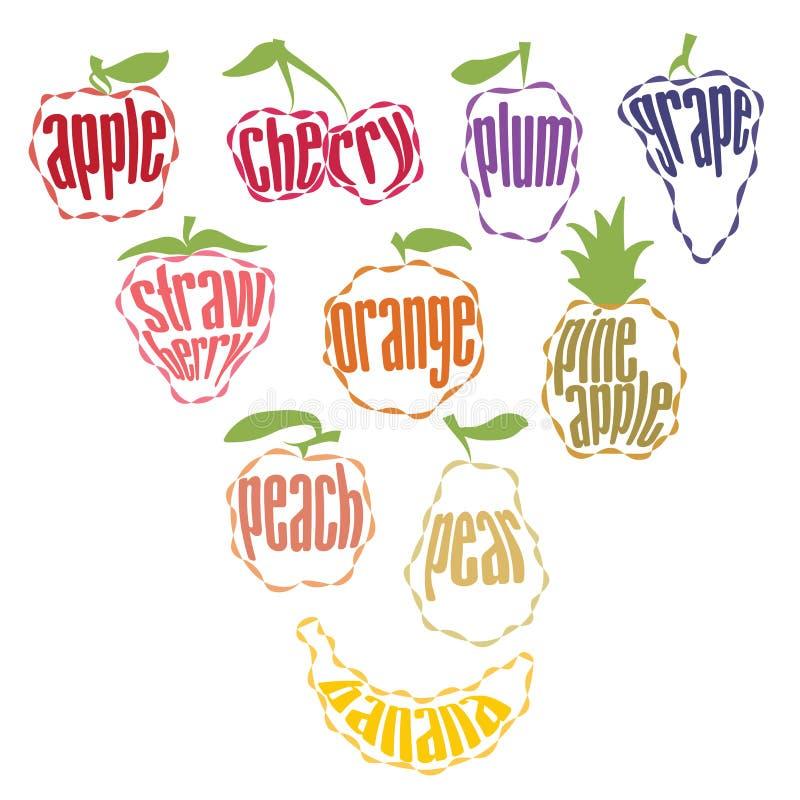 Reeks Fruitetiketten - 10 punten vector illustratie