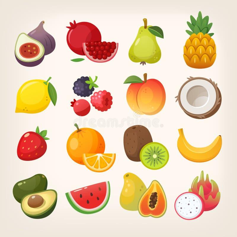 Reeks fruitpictogrammen Vector beelden stock illustratie
