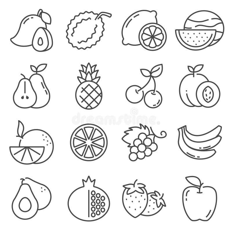Reeks fruitpictogrammen Vectorillustratiesinaasappel, Citroen, Apple, Mango en meer royalty-vrije stock foto
