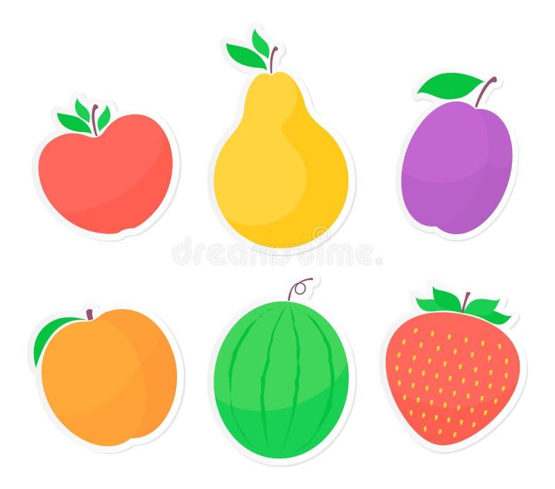 Reeks fruitstickers royalty-vrije illustratie