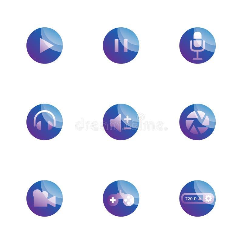 Reeks functiepictogrammen van verschillende media royalty-vrije illustratie