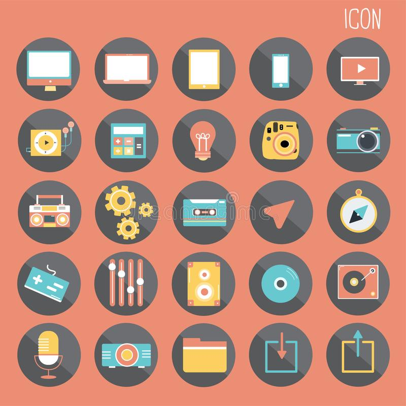 25 reeks Fundamenteel Vlak ontwerp, sociale media en smartphone, Web en Mobiele Toepassing, Andere samenvatting stock illustratie