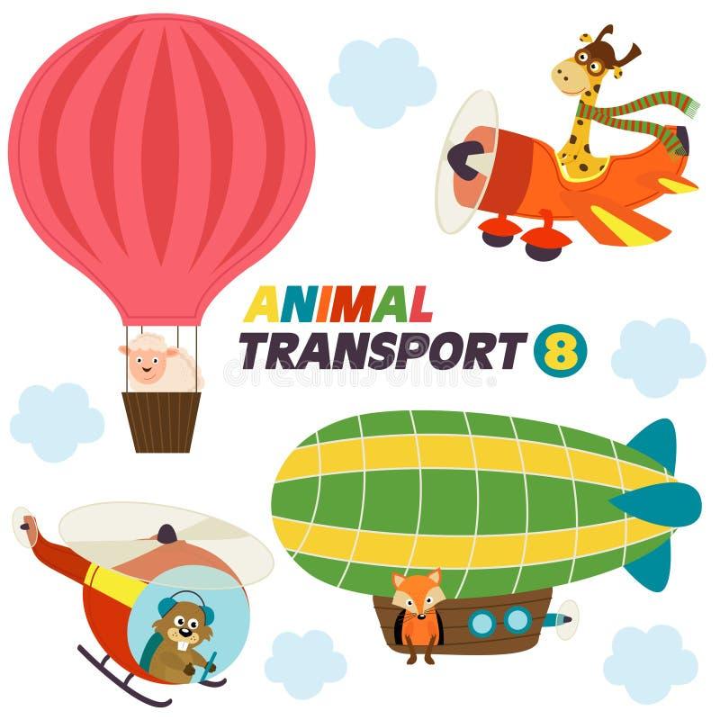 Reeks geïsoleerd luchtvervoer met dieren stock illustratie