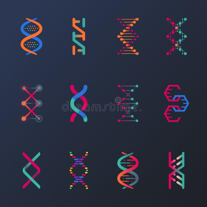 Reeks geïsoleerde DNA-schroef of spiralen, cel royalty-vrije illustratie