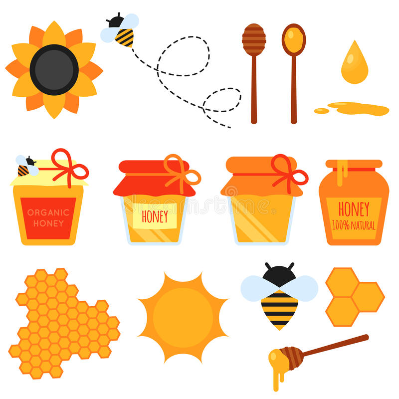Reeks geïsoleerde elementen van het honings vlakke ontwerp stock illustratie
