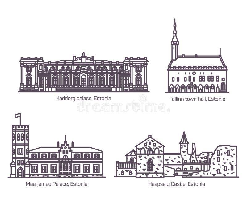 Reeks geïsoleerde Estlandse oude gebouwen van Estland of stock illustratie