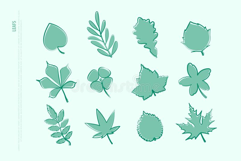 Reeks geïsoleerde hand getrokken bladpictogrammen vectorbladerenembleem royalty-vrije illustratie