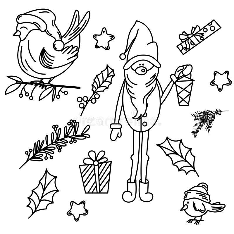 Reeks geïsoleerde Kerstmiselementen royalty-vrije illustratie