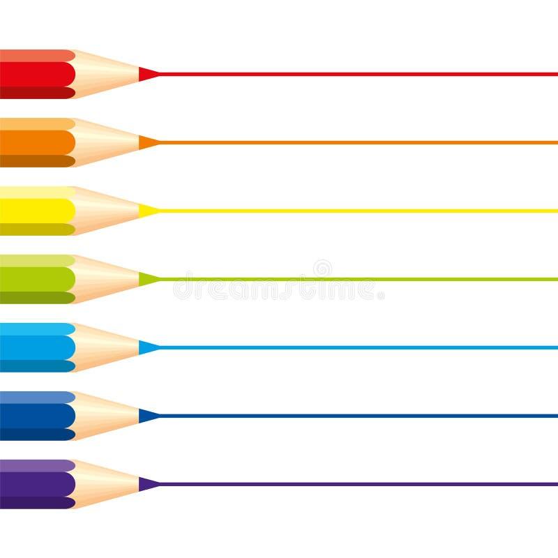 Reeks geïsoleerde kleurpotloden: rood, sinaasappel, blauw, lichtblauw, violet, groen, geel, met horizontale rechte lijnen voor no royalty-vrije illustratie