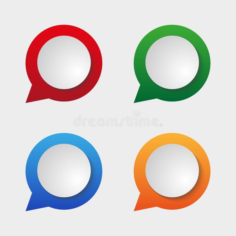 Reeks geïsoleerde kleurrijke document stickers Vierkant, ronde, rechthoek en toespraakbellenachtergronden Vectoretikettenillustra stock illustratie