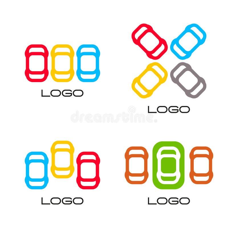 Reeks geïsoleerde kleurrijke vectorapparaten Eenvoudige mobiele contour Auto'ssilhouet Parkeerterreinteken Wegelement royalty-vrije illustratie