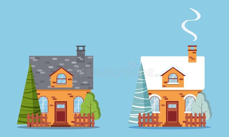 Reeks geïsoleerde landelijke huizen van de landbouwbedrijf rode baksteen met zolder, schoorsteen, omheiningen, met de winter en d royalty-vrije illustratie