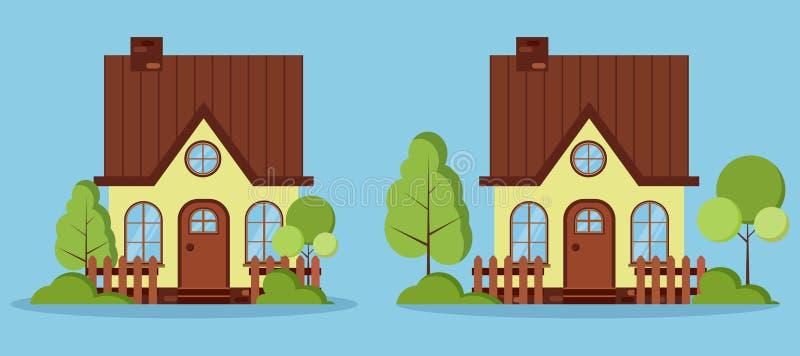 Reeks geïsoleerde mooie landelijke landbouwbedrijf fabelachtige huizen met zolder, schoorsteen, omheiningen stock illustratie