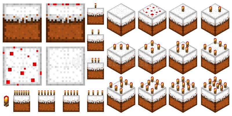 reeks geïsoleerde naadloze texturen en voorwerpen in de stijl van minecraft vector illustratie