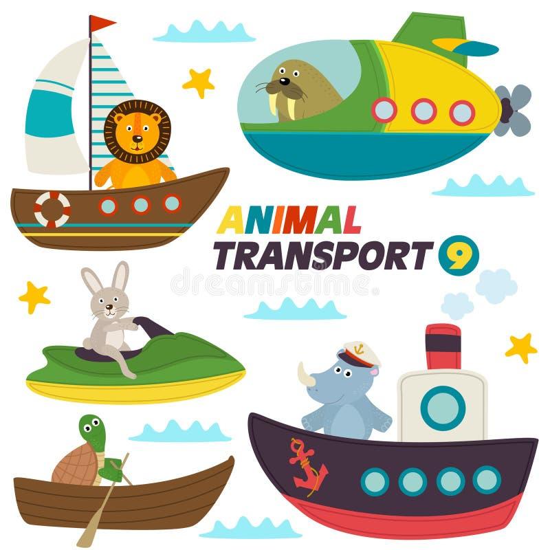 Reeks geïsoleerde overzeese transporten met dieren stock illustratie