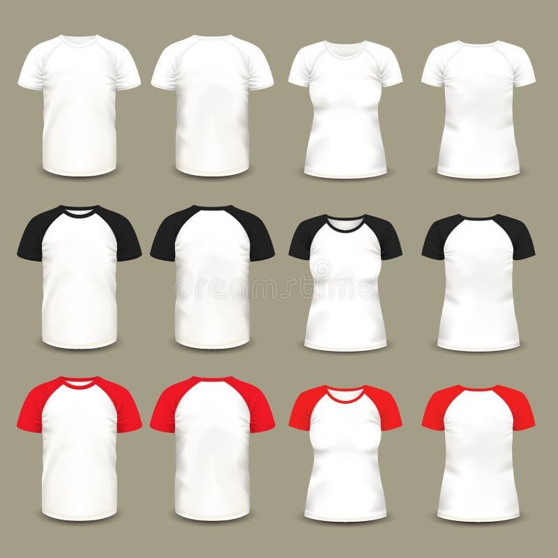 Reeks geïsoleerde raglan t-shirts en overhemden stock illustratie