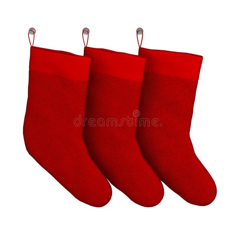 Reeks Geïsoleerde Rode Sokken van de Kerstmisgift stock foto's