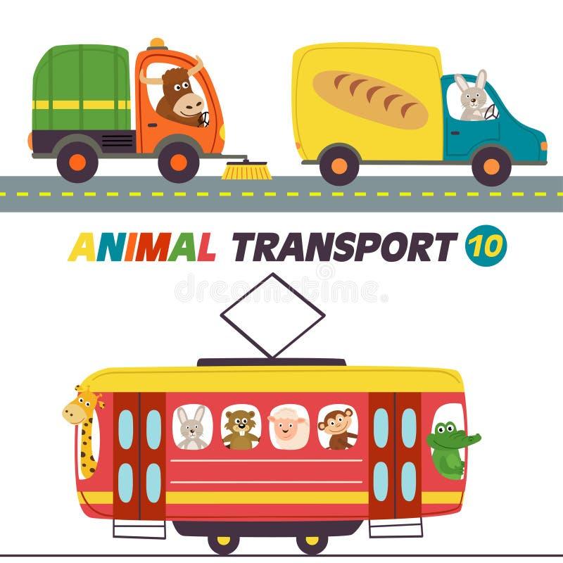 Reeks geïsoleerde transporten met dierendeel 10 vector illustratie