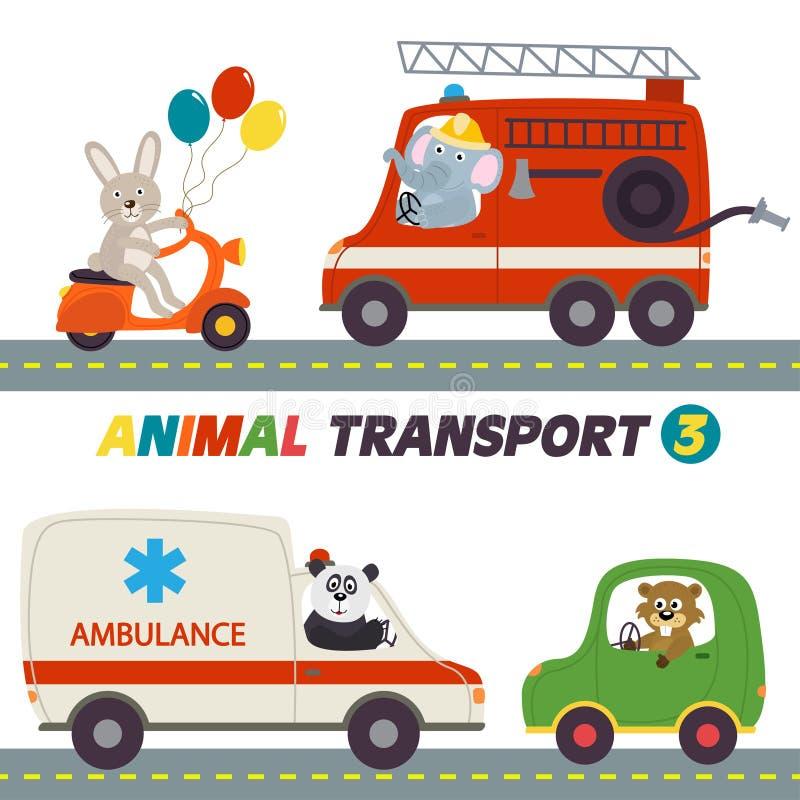 Reeks geïsoleerde transporten met dierendeel 3 vector illustratie