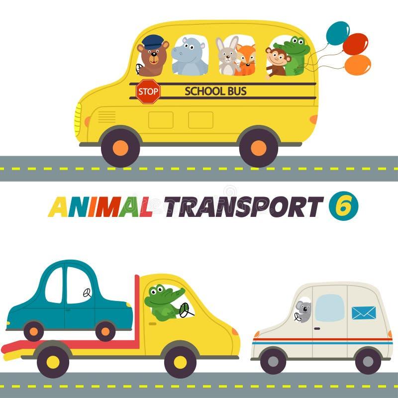 Reeks geïsoleerde transporten met dierendeel 6 royalty-vrije illustratie